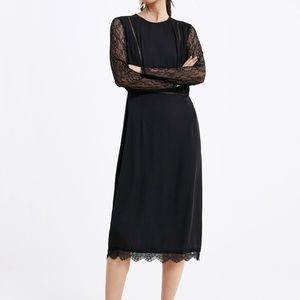 ZARA WOMEN DRESS LACE CONTRASTING BLACK NWT MIDI